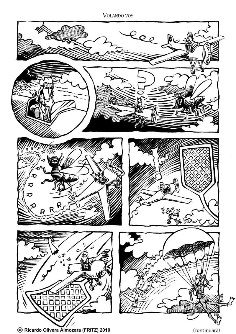 Escena de comic de un avión estrellándose contra un matamoscas tras esquivar a una mosca.